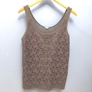 J Crew Lace Tank with Jersey Back
